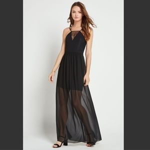 BCBGeneration Strappy Lace-Insert Maxi Dress